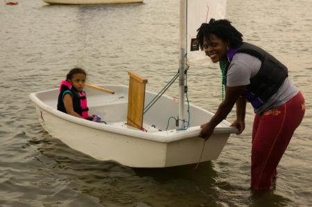 Mom and daughter sailing on Lake Calhoun
