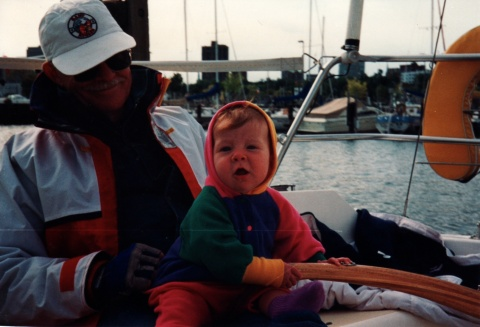 Pops (Grandpa) and Kate readying for a sail