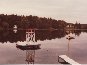 An old C-Scow awaits sailors at Camp Minikani (1970-ish)